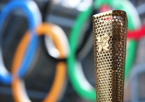 The London 2012 Olympic torch, designed by Barber Osgerby