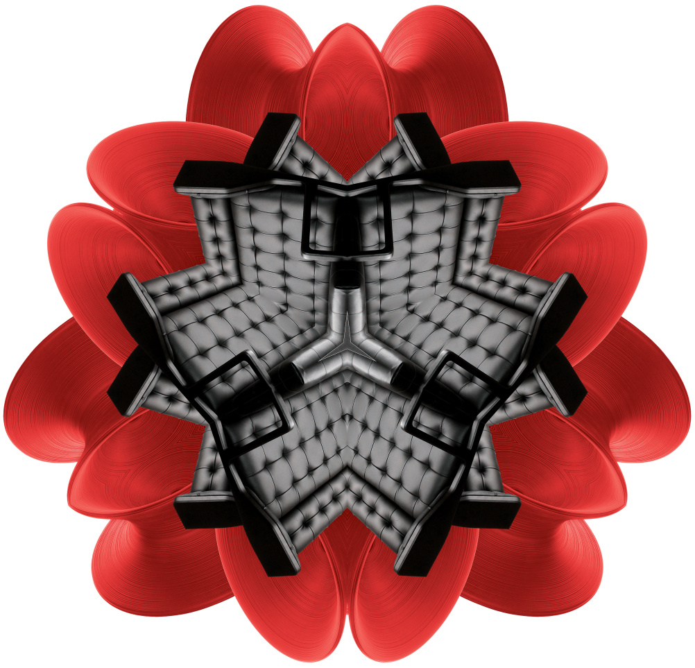 Kaleidoscope made from Red Spun Stool by Thomas Heatherwick, and double wingback chair by James Harrison design UK