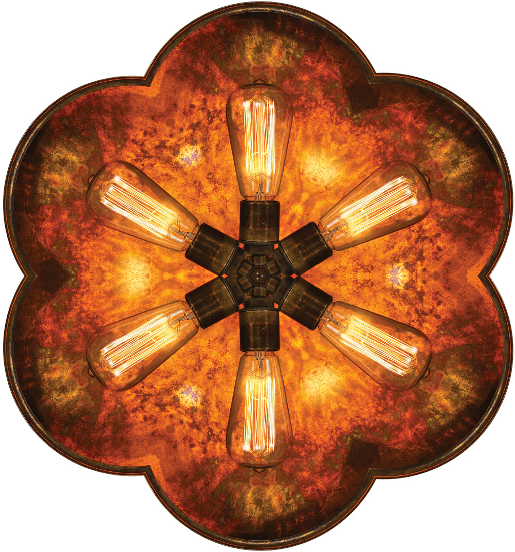 Kaleidoscope made from Cullen dish wall light designed and manufactured by Mullan Lighting