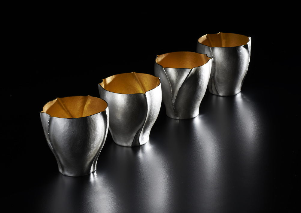 Rivulet Beakers, in Britannia Silver and gilded interior. By Rauni Higson. Crafted 2014