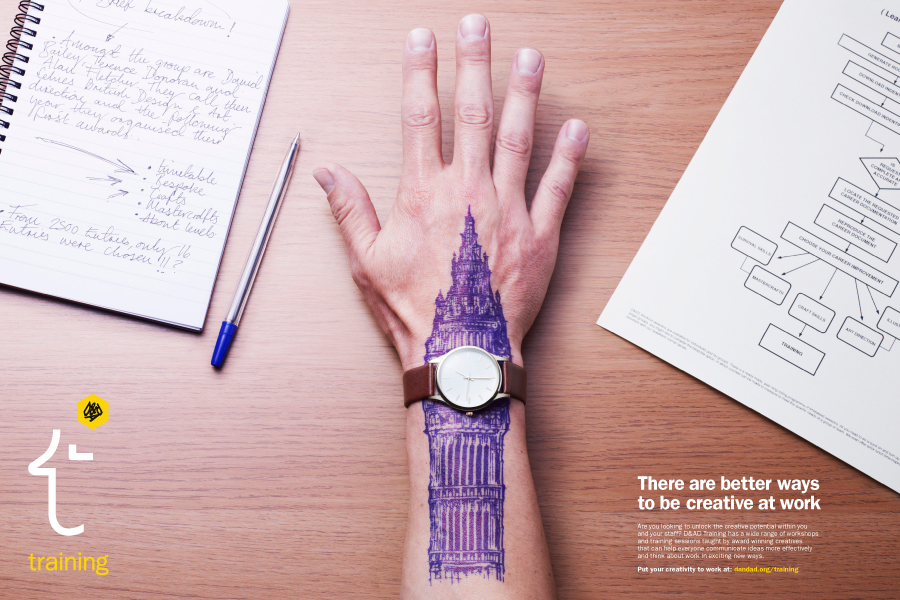 A Big Ben illustration on an office worker's arm