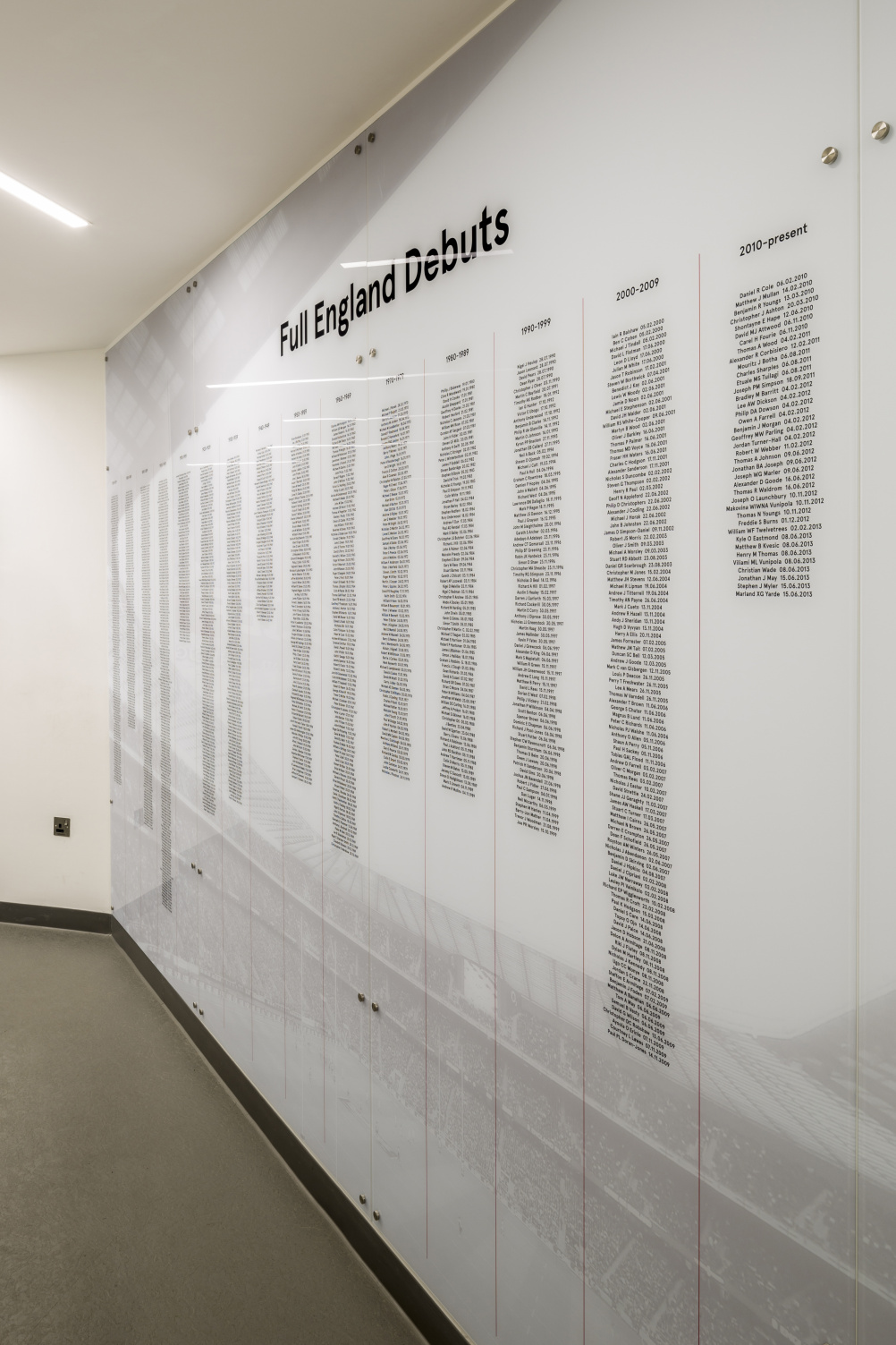 An honours board recognises every player who has turned out for England