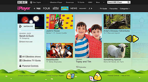 New CBeebies channel page