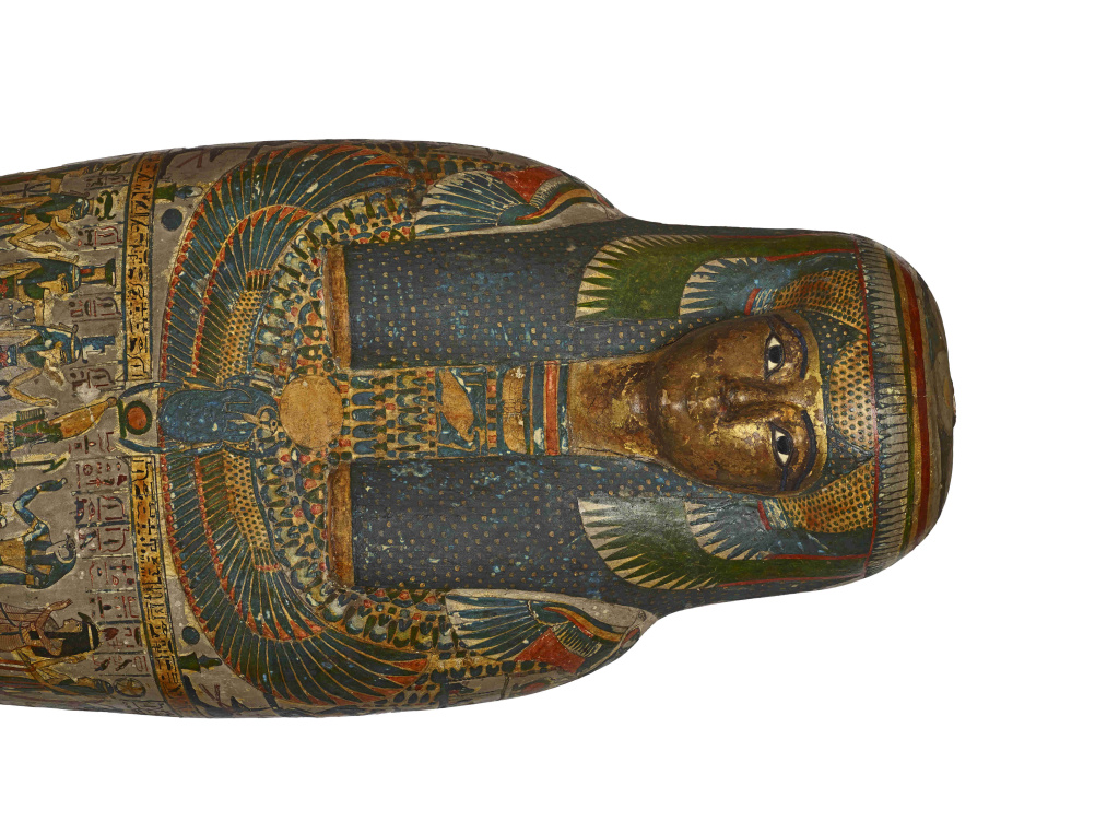 Cartonnage of a priestess, adult, casing with a gilded face, named Tayesmutengebtiu, also called Tamut. Found in Thebes, 22nd Dynasty (c. 900 BC)