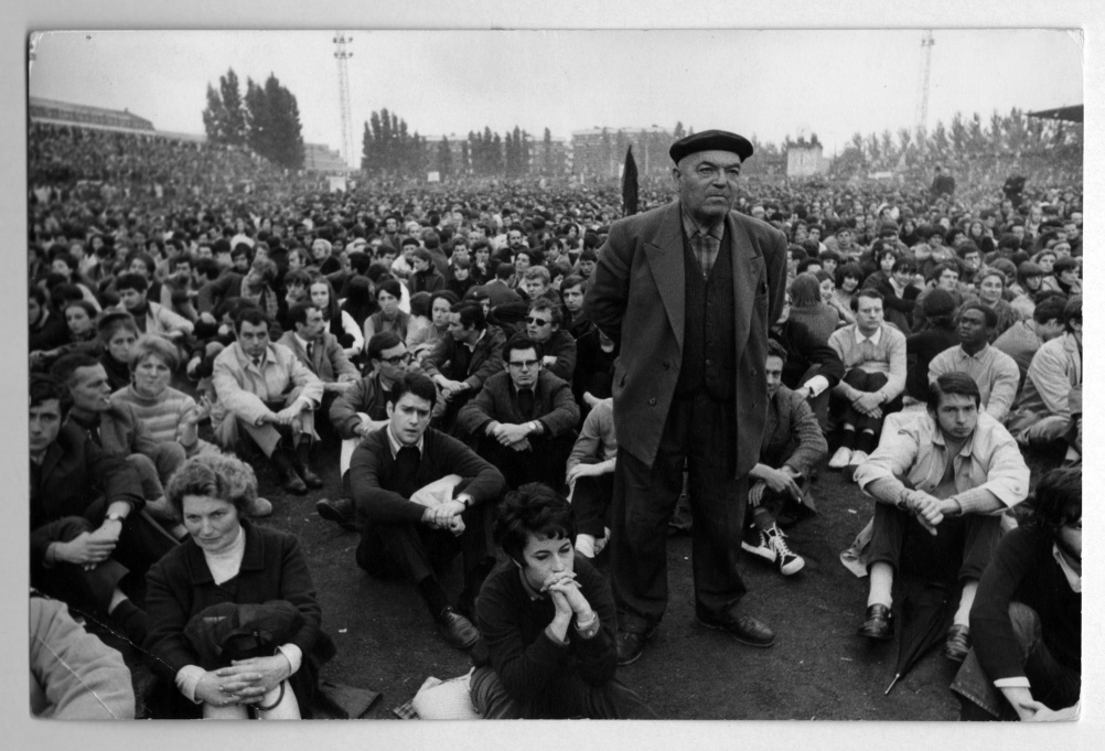 May 27 1968. 13th Arrondissement, 81 Boulevard Kellerman, Paris. Meeting of workers and students at Charlety stadium.