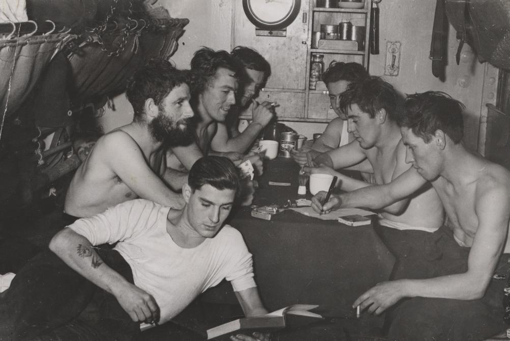 Alliance interior, crew members relaxing