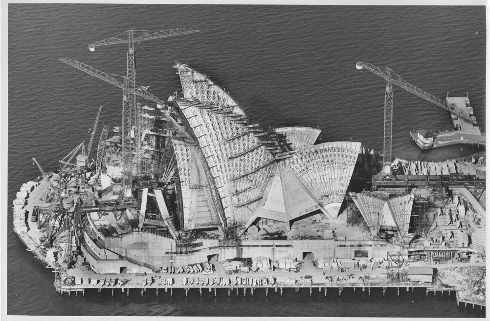 Sydney Opera House under construction, 6 April 1966