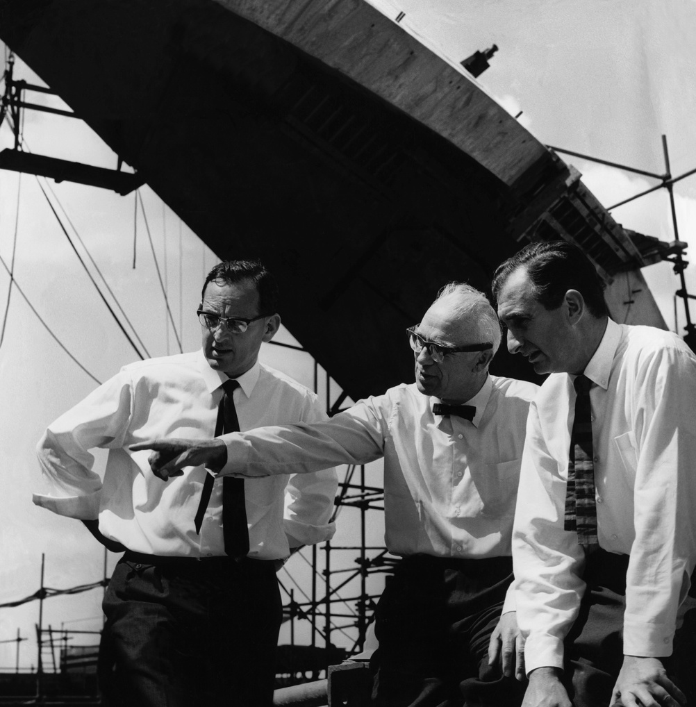 Michael Lewis, Ove Arup and Jack Zunz on site, October 1964