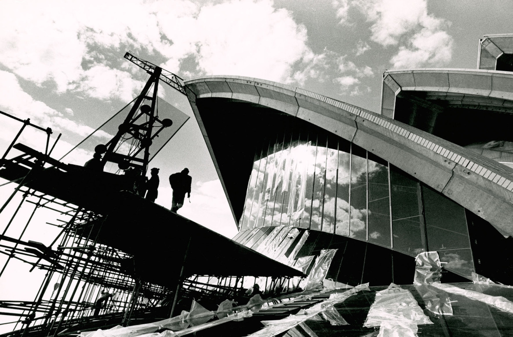 The A4 glass wall of the Sydney Opera House, 1971