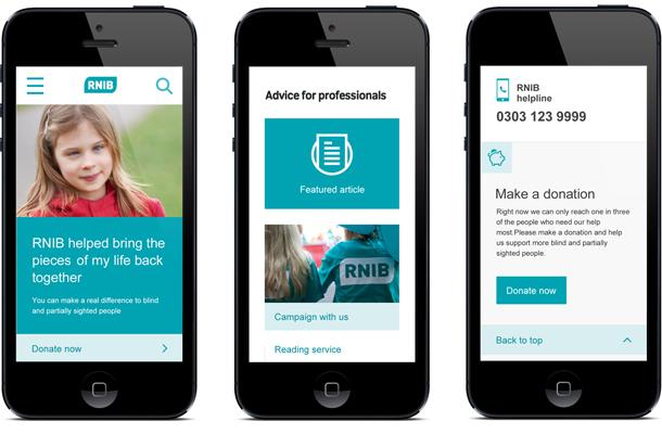 RNIB site on mobile