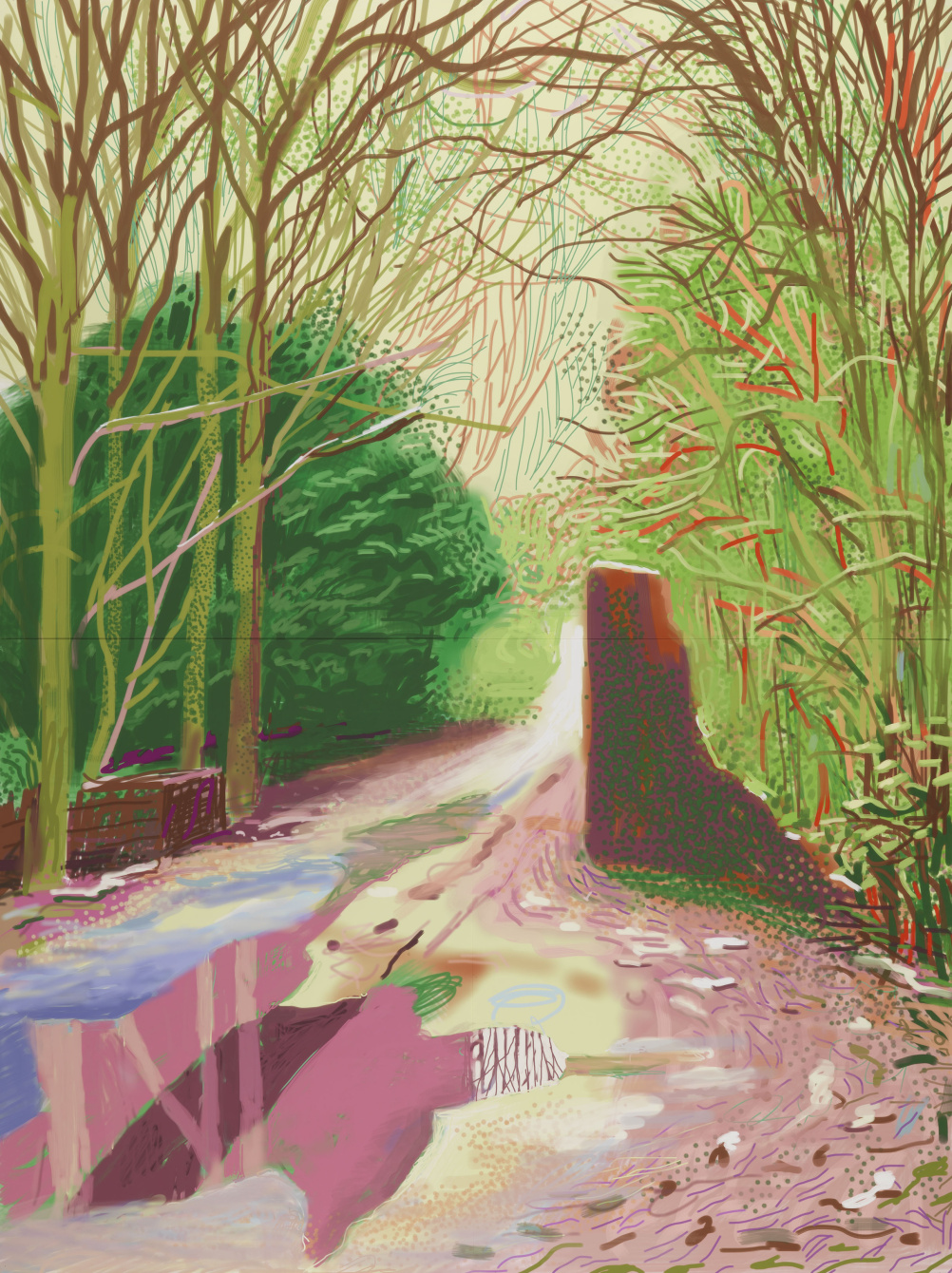 David Hockney  The Arrival of Spring in Woldgate, East Yorkshire in 2011 (twenty eleven) - 2 January 2011 iPad drawing printed on four sheets of paper, mounted on four sheets of dibond, edition 5 of 10