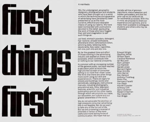 First Things First Manifesto, 1964