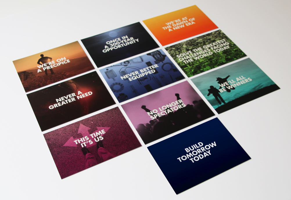 The printed materials feature 'anthem-like' messaging