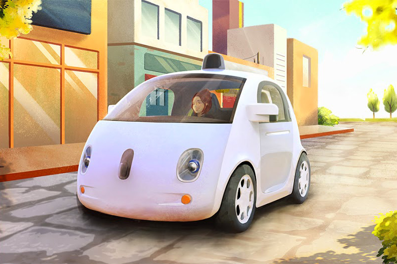 An artist's rendering of the driverless car