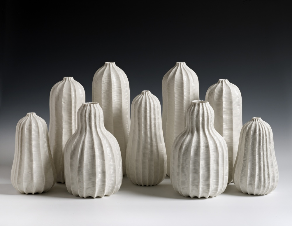 Garniture of Nine Vases, 2013, Andrew Wicks. Represented by Adrian Sassoon, London, UK