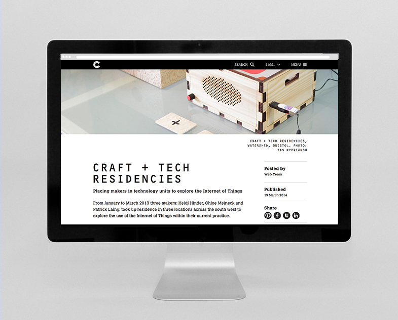 Crafts Council website showing editorial content