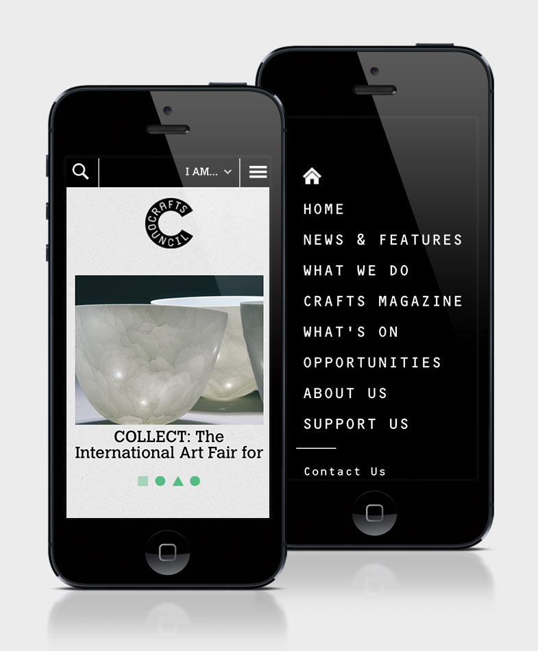 Crafts Council website on mobile