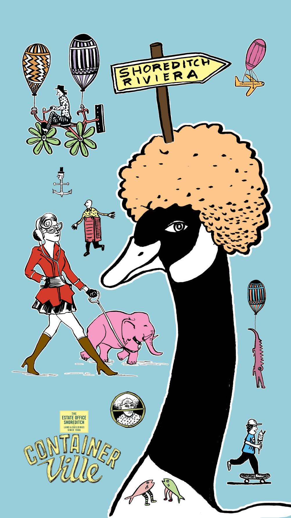 ContainerVille characters, featuting the Canada goose with an afro