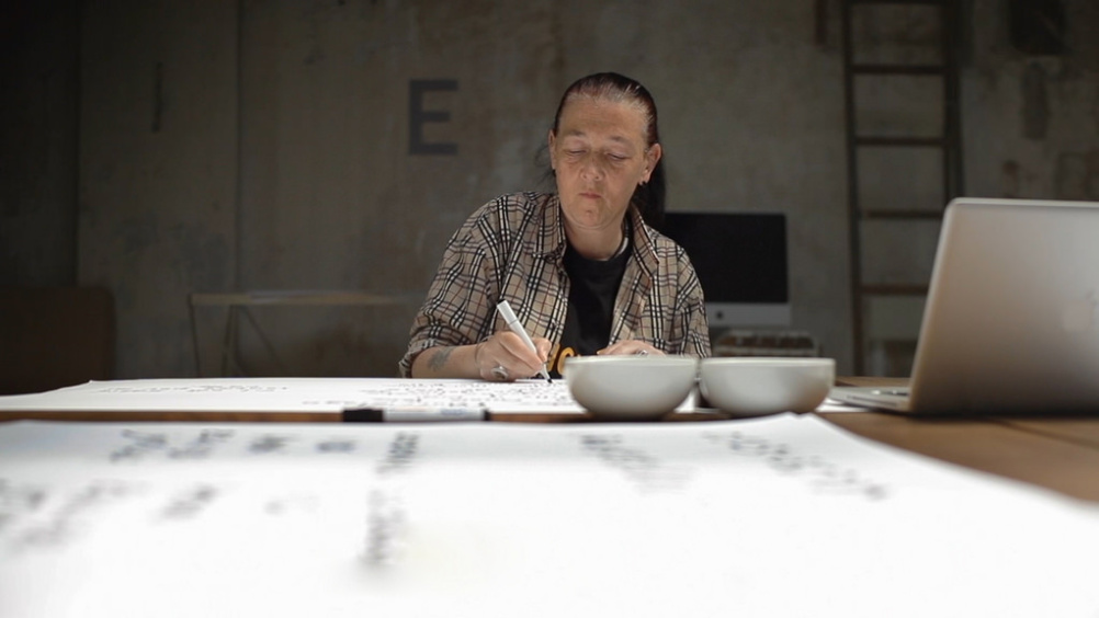 Loraine creating her typeface