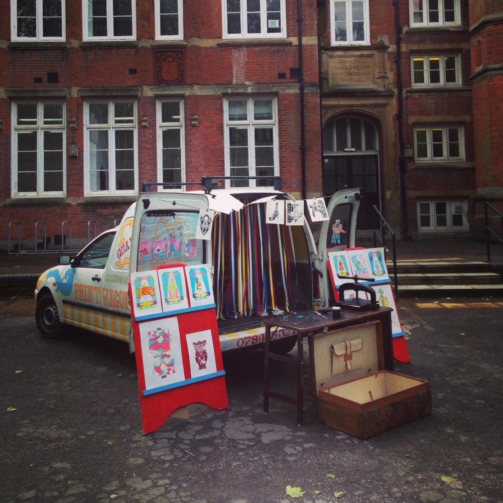 The Print Wagon touting its wares
