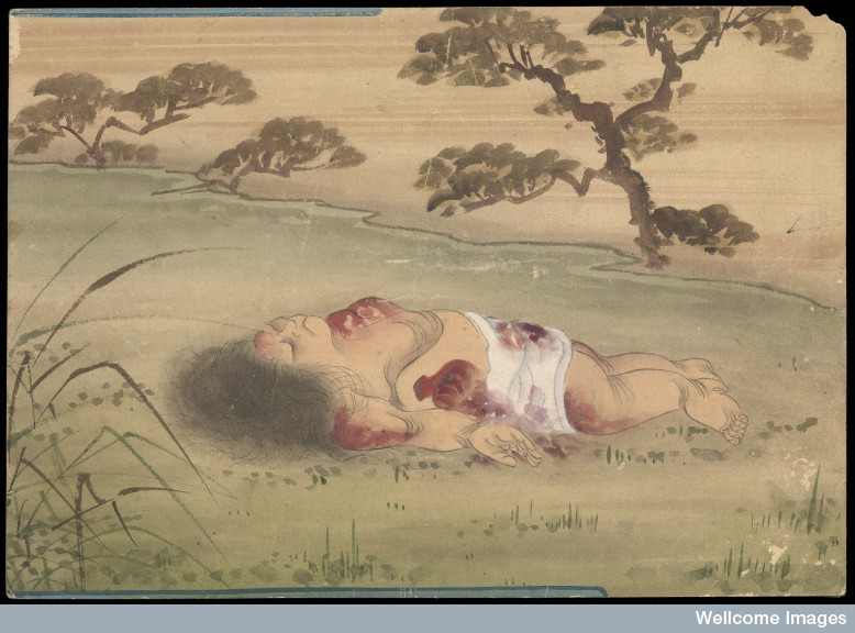 Kusozu. The death of a noble lady and the decay of her body