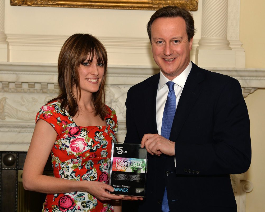 Rebecca Shipham meets Prime Minister David Cameron after being named as the UK's best freelancer