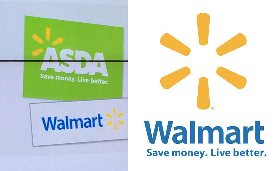 Asda's proposed new identity, with the Walmart logo