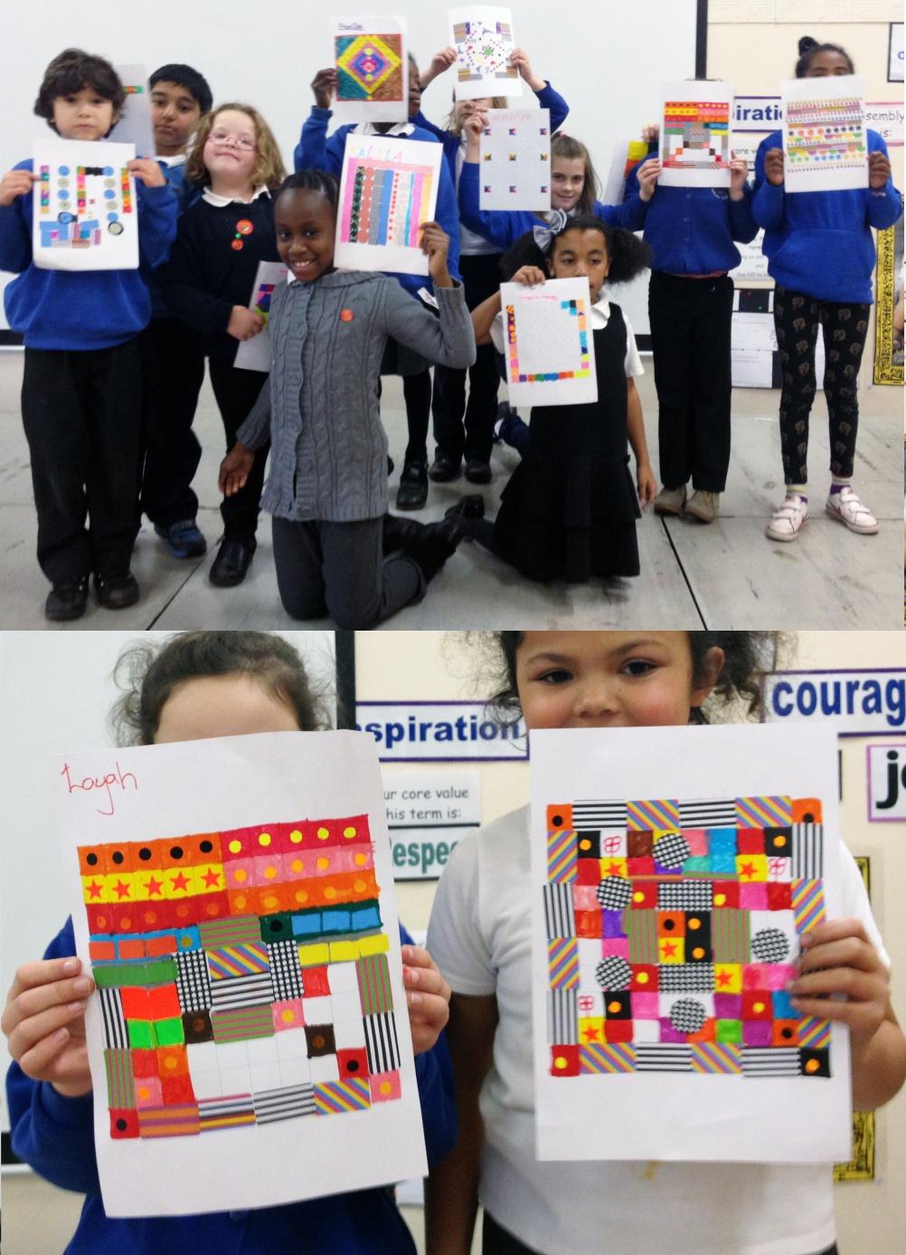 Children of Glenfrome Primary School, Eastville, showcasing their patterns for the Wonder Pavilion