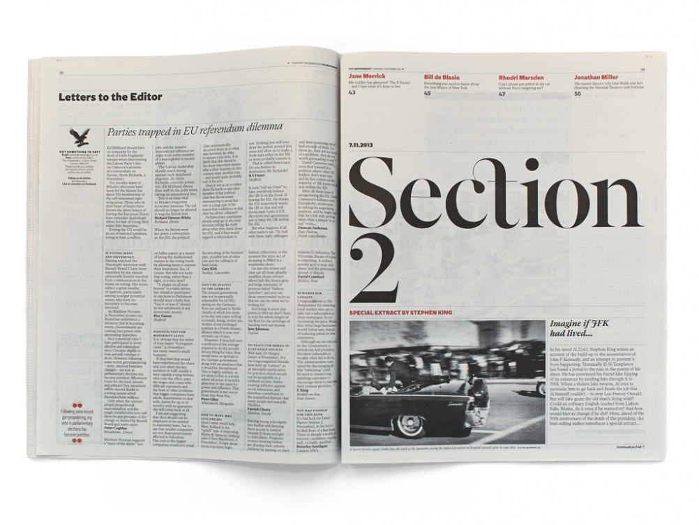 Spread for the Independent, featuring type by Henrik Kubel