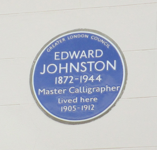 Edward Johnston's Blue Plaque uses the typeface he designed