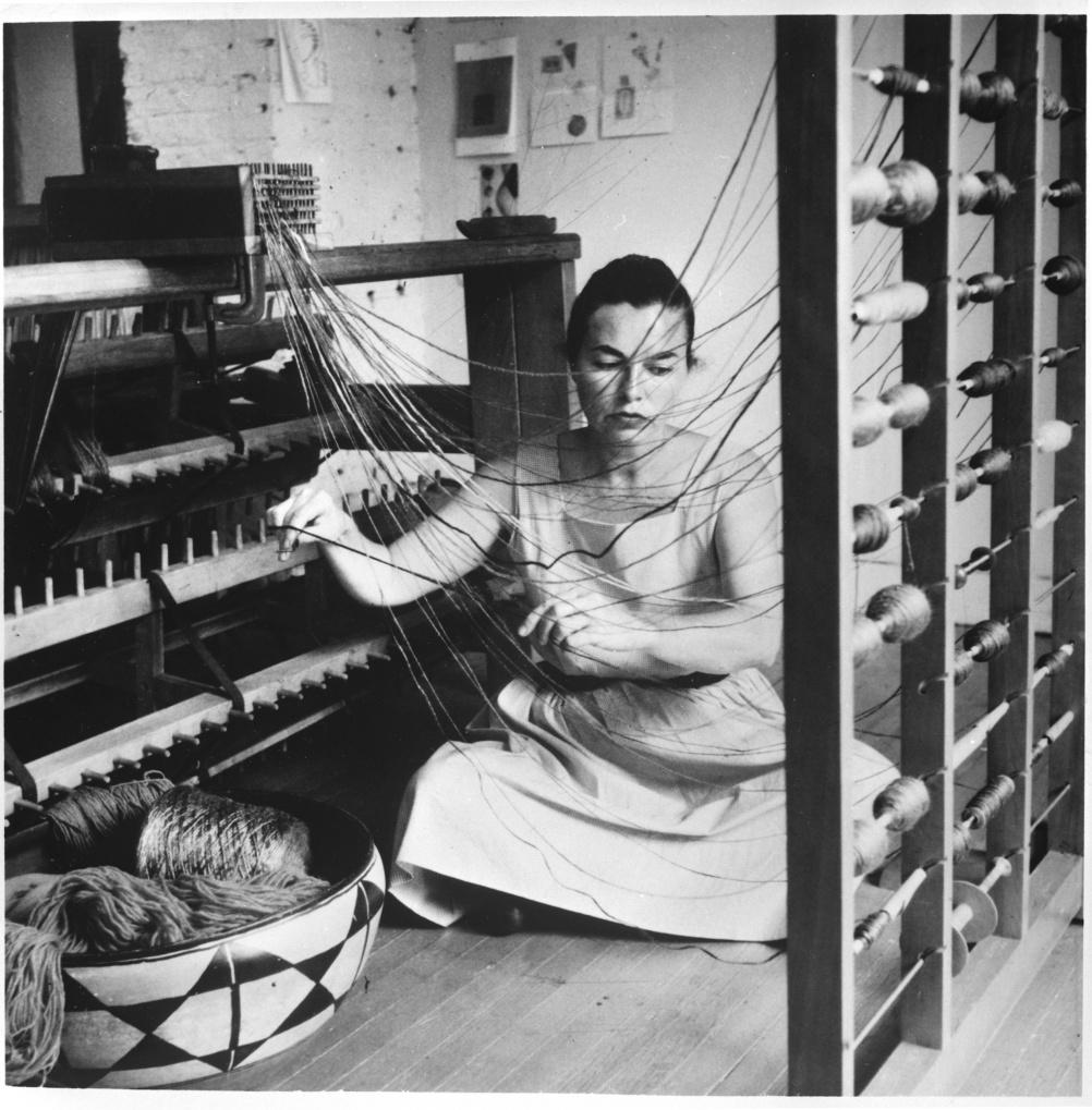 Lenore Tawney in her Coenties Slip Studio, 1958. Photo by David Attie