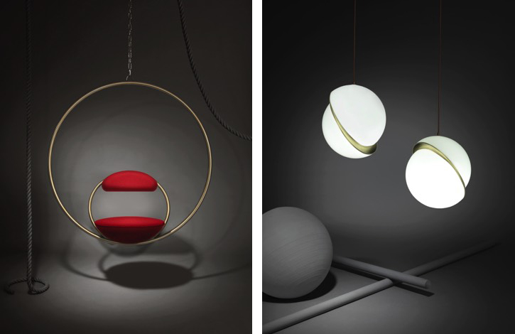 Hanging Hoop chair and Crescent Light, by Lee Broom