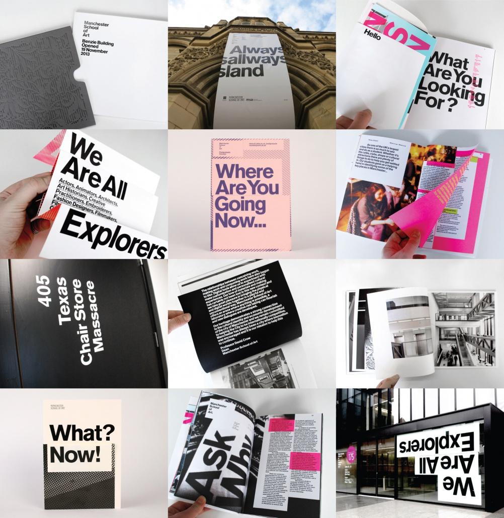 Manchester School of Art Rebrand / Brand Messaging / Prospectus / Signage — Manchester Metropolitan University (please show as a composite image not individual frames)