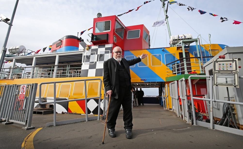 Sir Peter Blake stood outside his Everybody Razzle Dazzle ferry.