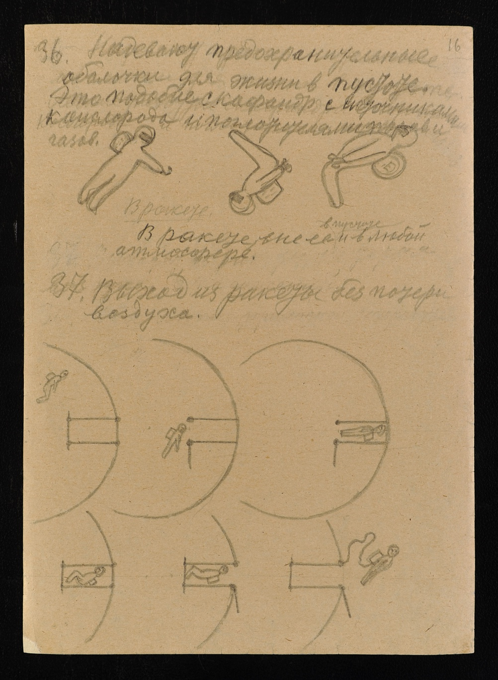 A page from Konstantin Tsiolkovsky Album of Cosmic Journeys, 1932. The Archive of the Russian Academy of Sciences.