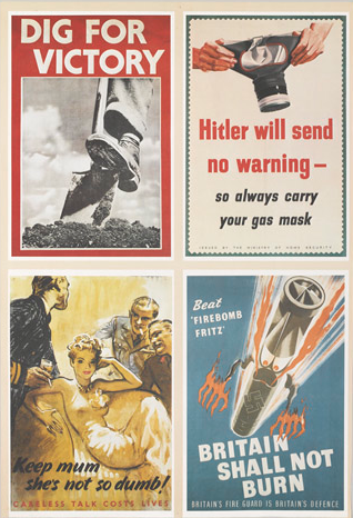 NAM. 1989-04-116-1016-1 (138721) A collage of typical posters of the era.  Reproduced courtesy of the council of the National Army Museum.