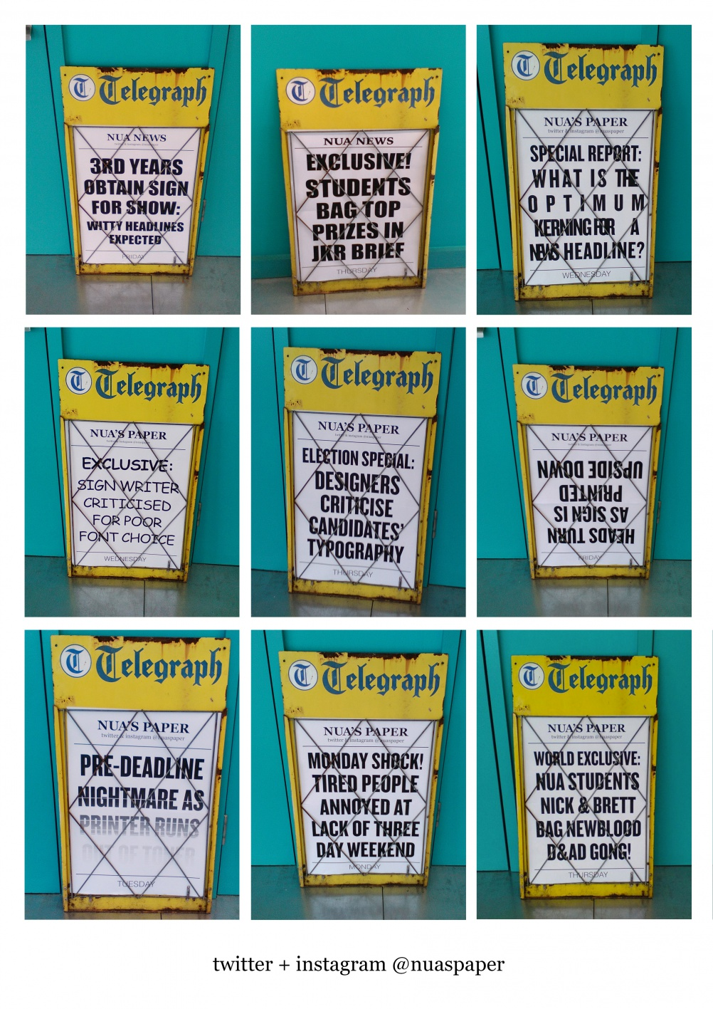 headlines on boardsA3