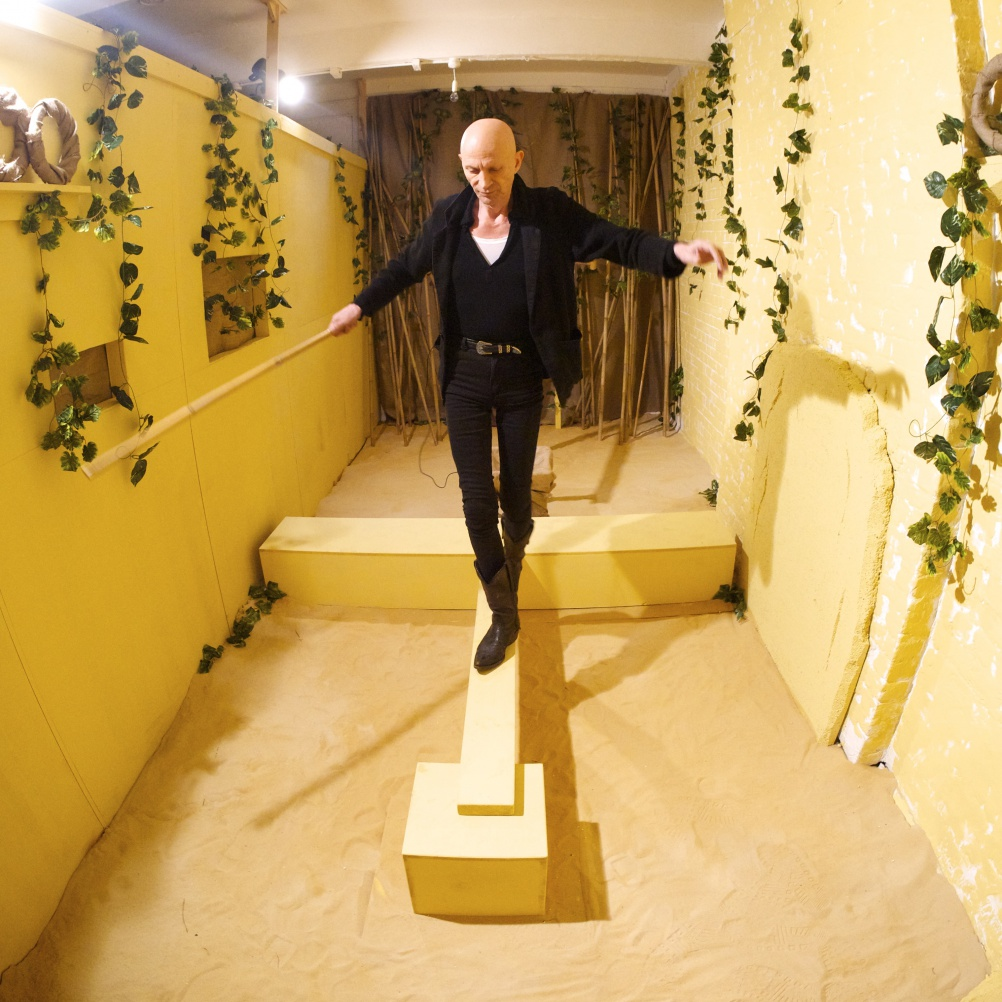 The Crystal Maze TV show ex-host Richard O'Brien trialling a mock up of the Aztec zone