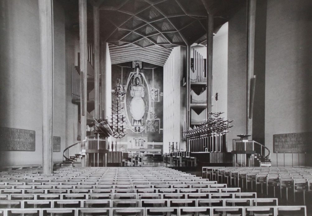 Rows of Coventry chairs in Coventry Cathedral