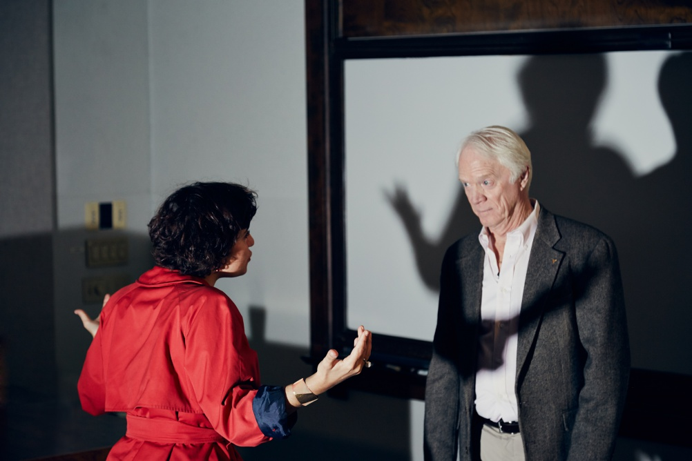 Ben Hayoun directing Apollo 9 astronaut Rusty Schweickart. Photo by Nick Ballon