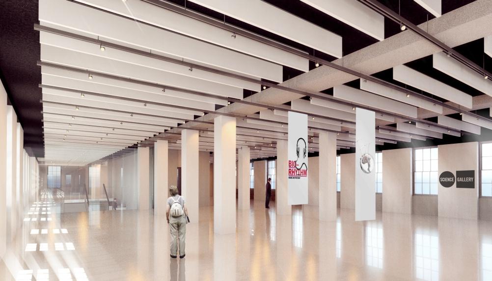 Render of London Science Gallery first floor gallery