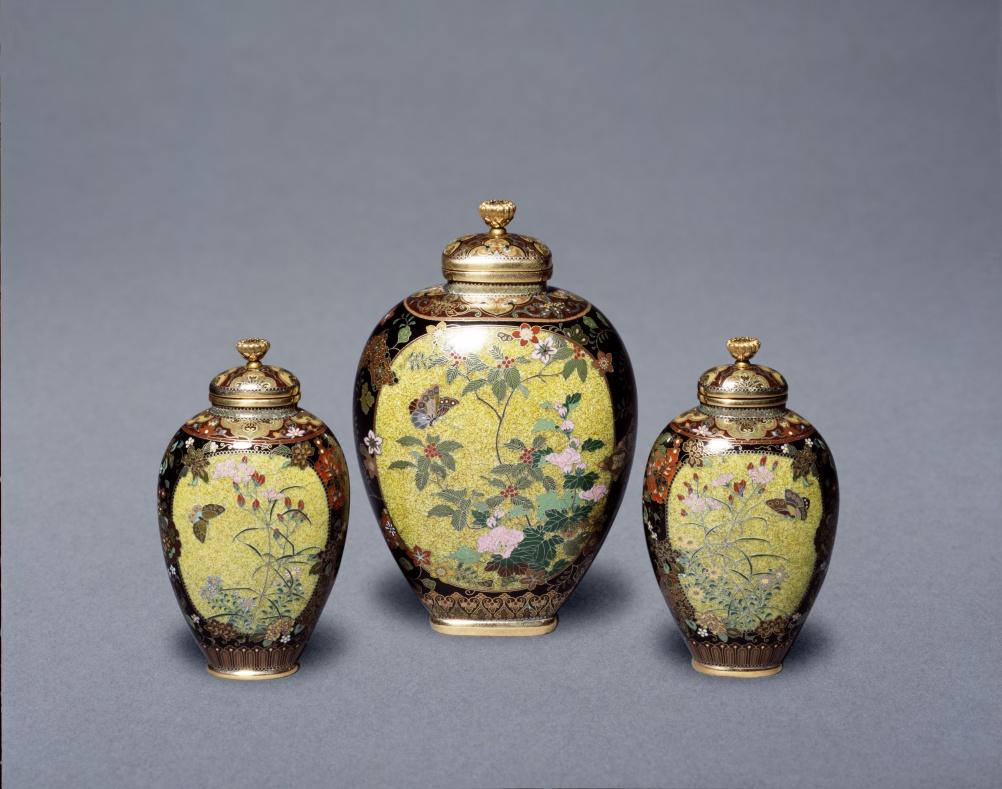 Cloisonné enamel vases by Namikawa Yasuyuki c.1880-90 (c) Victoria and Albert Museum, London