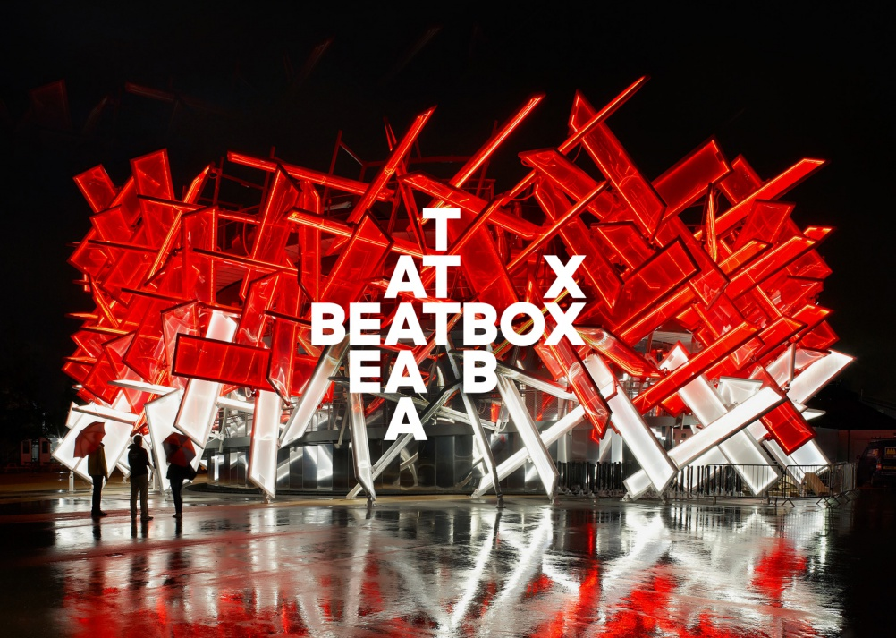 Identity, signage system and bespoke typeface for Asif Khan & Pernilla Ohrstedt's CocaCola's BEATBOX pavilion at the London 2012 Olympics. Photo: Hufton & Crowe.