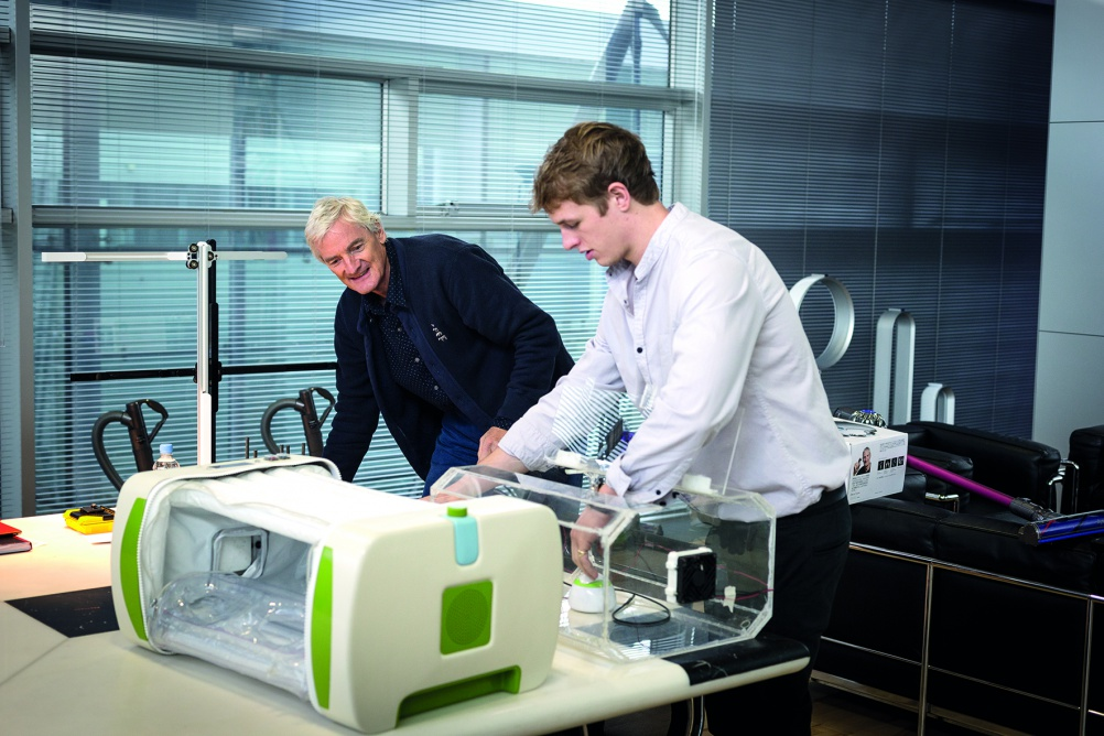 James Roberts, inventor of the MOM Incubator, with James Dyson