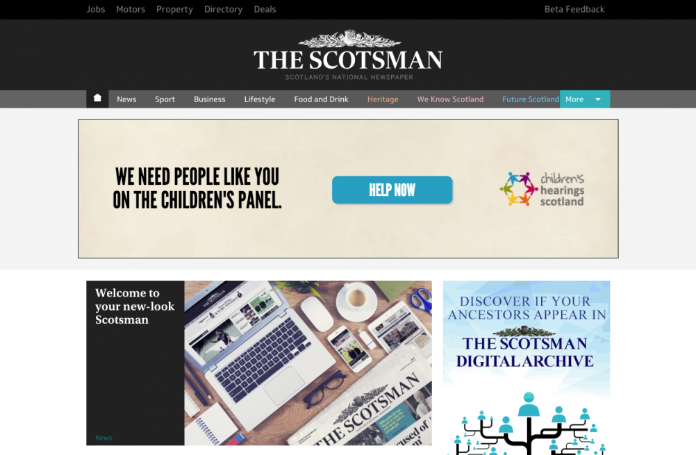 The Scotsman website - redesigned