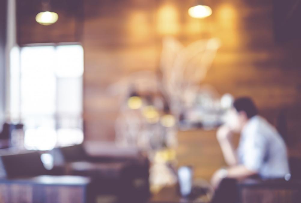 Blurred background : Vintage filter Customer in Coffee shop blur