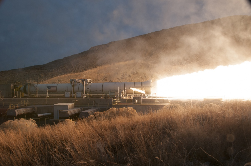 At the Promontory, Utah test facility of Orbital ATK, the booster for NASA's Space Launch System rocket was fired for a two minute test on March 11