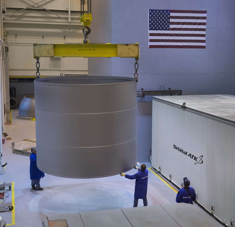 Technicians at Orbital ATK in Promontory, Utah, offload the aft stiffener that will be used on one of the two, five-segment solid rocket boosters for the first flight of the SLS