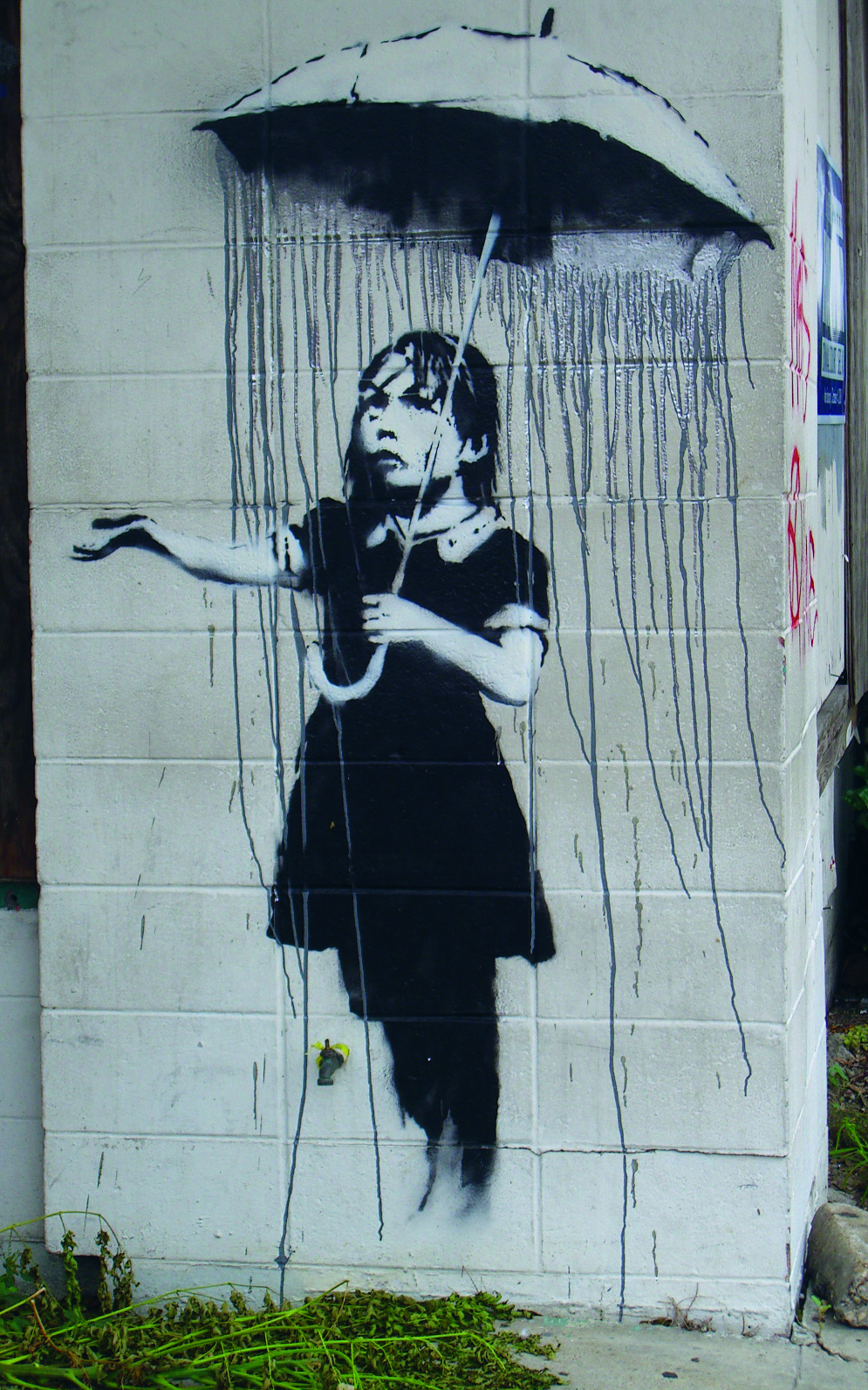 Umbrella Girl, street art by Banksy, New Orleans, USA 2008