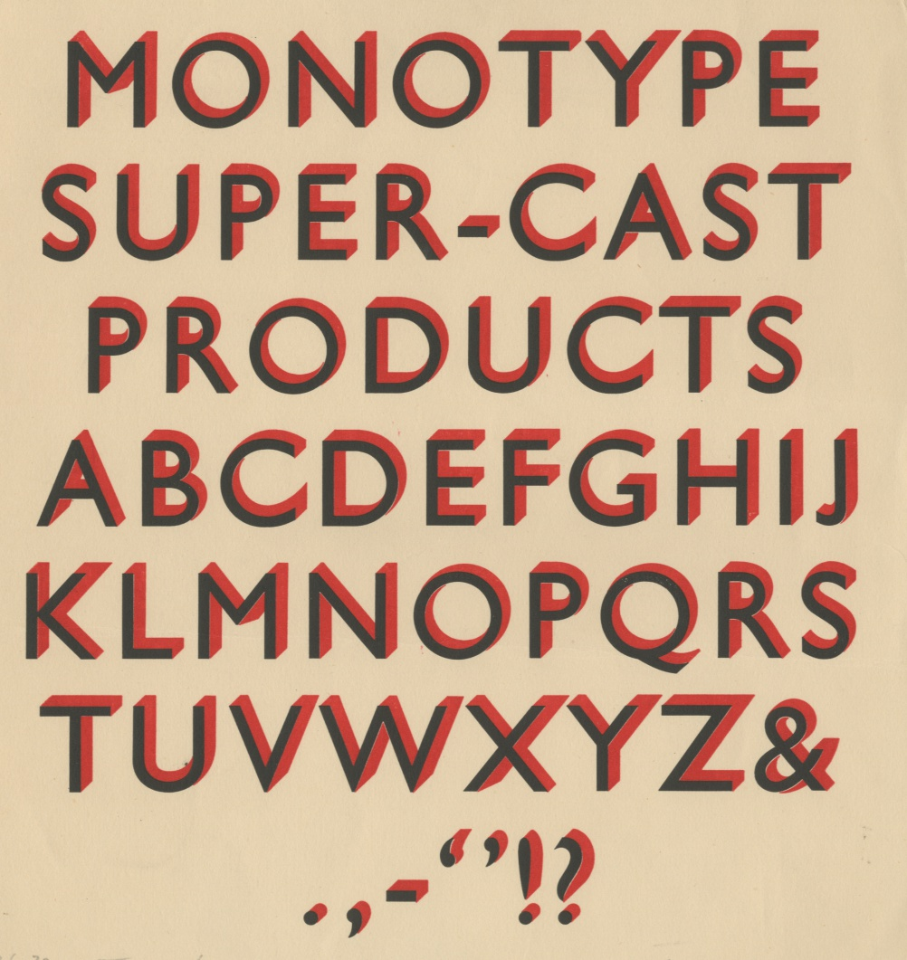 An early test proof of Gill Sans Shadow No 3